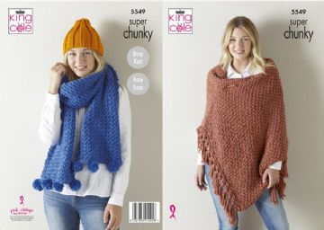 King Cole Wrap/Shawl, Hat and Scarf Knitting Pattern in Super Chunky , 5549,